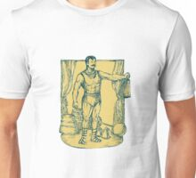 Strongman Lifting Weight Drawing Unisex T-Shirt