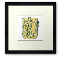 Strongman Lifting Weight Drawing Framed Print