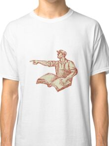 Activist Union Worker Pointing Book Drawing Classic T-Shirt