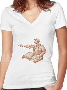 Activist Union Worker Pointing Book Drawing Women's Fitted V-Neck T-Shirt