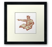 Activist Union Worker Pointing Book Drawing Framed Print