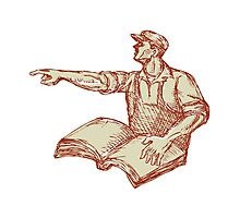 Activist Union Worker Pointing Book Drawing Photographic Print