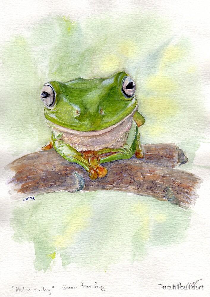 Green Tree Frog,  Mista Smiley by melhillswildart