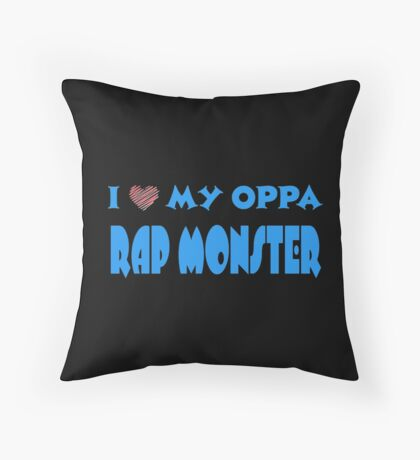 I HEART MY OPPA RAP MONSTER  - BLACK  Throw Pillow