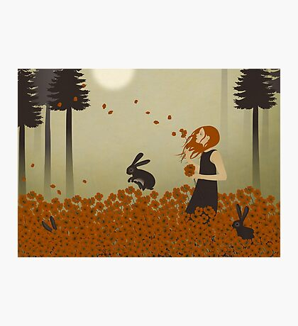 Red Hair & Red Poppies Photographic Print