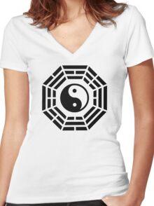Pakua yin yang Women's Fitted V-Neck T-Shirt