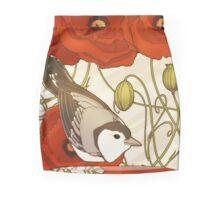 Grey Bird, Red Flowers Mini Skirt
