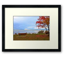 A seat by the lake. Framed Print