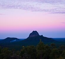 Dust Over Glasshouse Mountains by Sue Martin