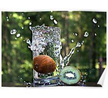 Splash of fresh Kiwi. Poster
