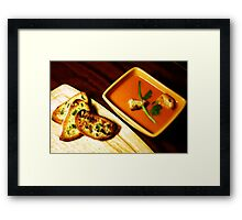 Tomato soup with Garlic bread. Framed Print