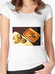 Tomato soup with Garlic bread. Women's Fitted Scoop T-Shirt