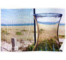 Cape Cod Beach Cottage Window Poster