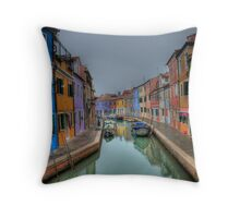 Venetian Canal Scene Throw Pillow