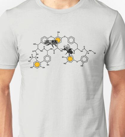 Bees making honey on macromolecular structure as a bee house  Unisex T-Shirt
