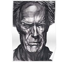 Clint Eastwood Drawing, 2013. Black Ink Pen on Paper. Poster