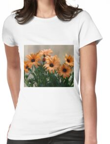 Pale orange flowers Womens Fitted T-Shirt