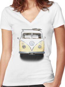Volkswagen Kombi Newsprint © Women's Fitted V-Neck T-Shirt