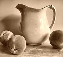 Old Pitcher with Peaches in Sepia. by suzannem73