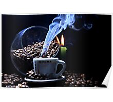 A cup of smoking hot coffee. Poster