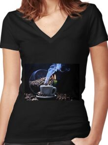 A cup of smoking hot coffee. Women's Fitted V-Neck T-Shirt