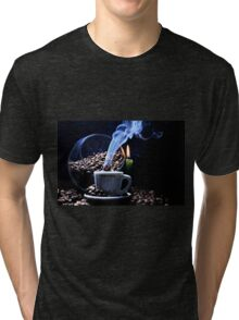 A cup of smoking hot coffee. Tri-blend T-Shirt