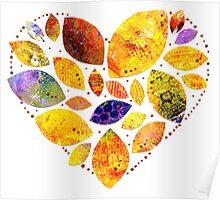 Autumn Leaf Heart Poster