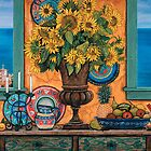 Still Life with Sunflowers & Italian Coast by Sarina Tomchin