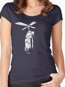 Cat Helicopter searching at ya Women's Fitted Scoop T-Shirt