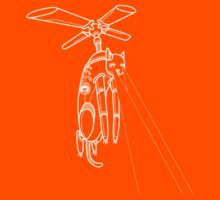 Cat Helicopter searching at ya outline version Kids Tee