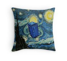 Starry Night Flying Tardis Doctor Who Throw Pillow
