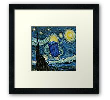 Starry Night Flying Tardis Doctor Who Framed Print