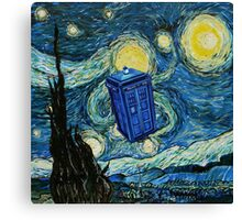 Starry Night Flying Tardis Doctor Who Canvas Print