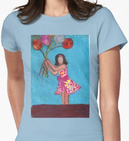 Balloon Girl Womens Fitted T-Shirt