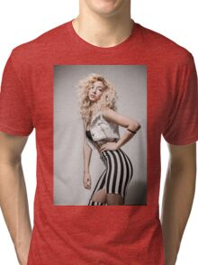 Flirting Young Hip female teen with blond curly hair  Tri-blend T-Shirt