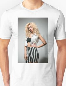 Young arrogant Hip female teen with blond curly hair  T-Shirt
