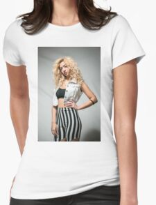 Young arrogant Hip female teen with blond curly hair  Womens Fitted T-Shirt