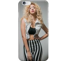 Young arrogant Hip female teen with blond curly hair  iPhone Case/Skin