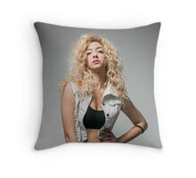 Young arrogant Hip female teen with blond curly hair  Throw Pillow