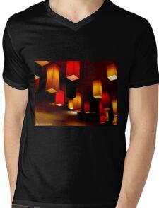 Colour Blocks Mens V-Neck T-Shirt