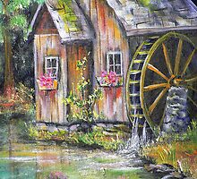 Mill on Pond by Pamela Plante