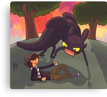 Toothless the dragon, and Hiccup the human Canvas Print