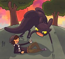 Toothless the dragon, and Hiccup the human Photographic Print