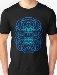 Blue Tribal Fractal Curves T-Shirt