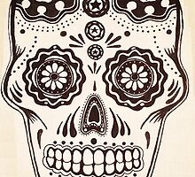 Sugar Skull in ink by Rebecca Pauley