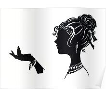 Vanity , Fashion illustration Beauty Paper Cutout black and white silhouette signed print Sexy Woman Girl Makeup Jewelry Modern & Minimal Poster
