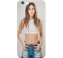 Young teen with long brown hair in jeans and white crop top iPhone Case/Skin