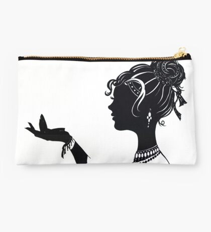 Vanity , Fashion illustration Beauty Paper Cutout black and white silhouette signed print Sexy Woman Girl Makeup Jewelry Modern & Minimal Studio Pouch