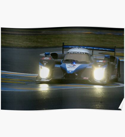 Le Mans 2009 by night: Peugeot 908 Poster