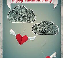 Flying Origami Hearts by OkoLaa